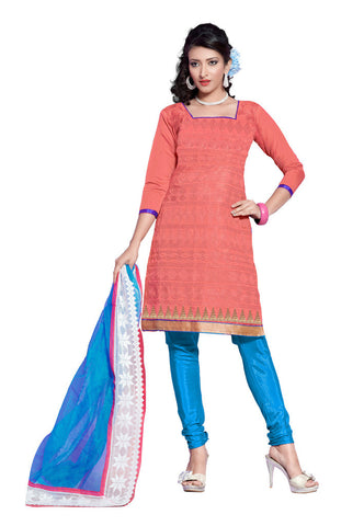 Salmon Chanderi Silk suits