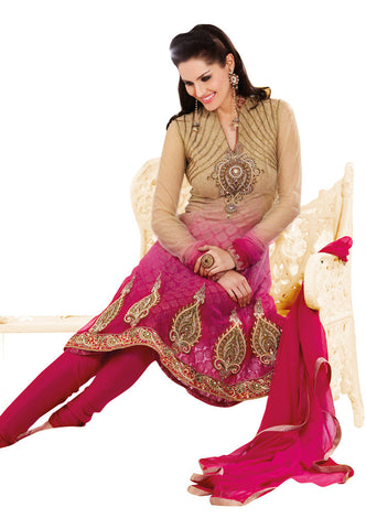 Cream Net Salwaar Suits