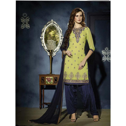 Home Shop Designer Green and blue georgette patiala salwar suits