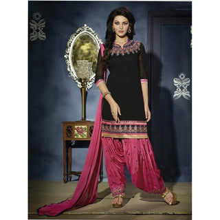 Designer Pink and Black embroidered patiala suits