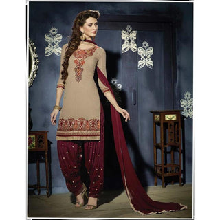 Designer dark beige and maroon patiala suits