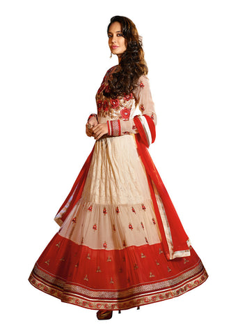White & Red Georgette suits