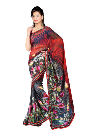 Red & Grey  Georgette saree
