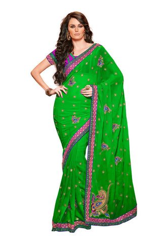 Yellow & Green color Chiffon Saree saree