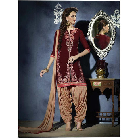 Designer Embroidered Georgette Maroon and beige patiala suits