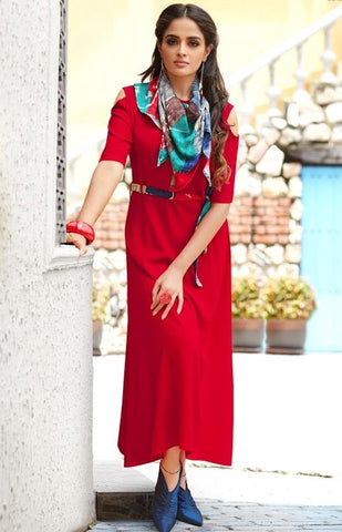Long Red Party wear kurti