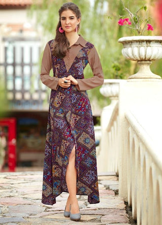 Printed front cut party wear  kurti