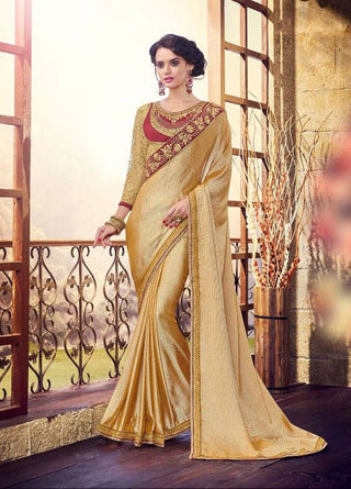 Beige Satin Georgette Saree With Dupion Silk Blouse