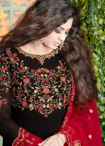 Black Georgette Embroidered Work Anarkali Dress With Red Dupatta