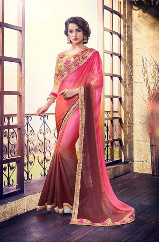 Multicolor Satin Georgette Saree With Dupion Silk Blouse