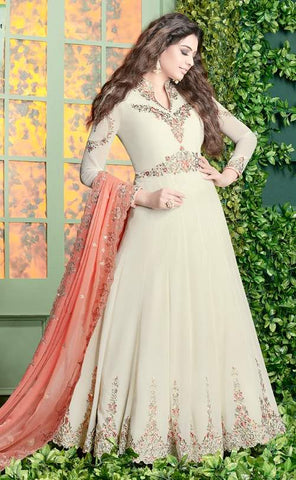 White Georgette Embroidered Work Anarkali Suit With Peach Dupatta