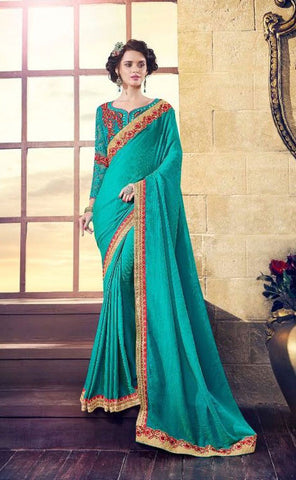 Cyan Satin Georgette Saree With Dupion Silk Blouse