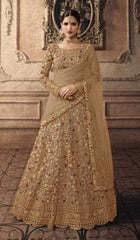 Brown Net Party Wear Lehenga With Brown Dupatta