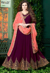 Purple Georgette Embroidered Work Anarkali Suit With Red Dupatta