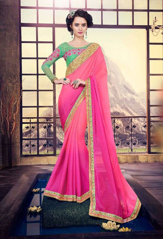 Pink Satin Georgette Saree With Green Dupion Silk Blouse