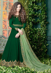 Green Georgette Embroidered Work Anarkali With Green Dupatta