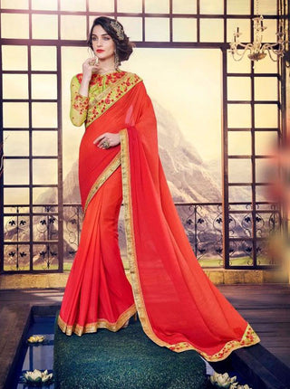 Red Satin Georgette Saree With Dupion Silk Blouse