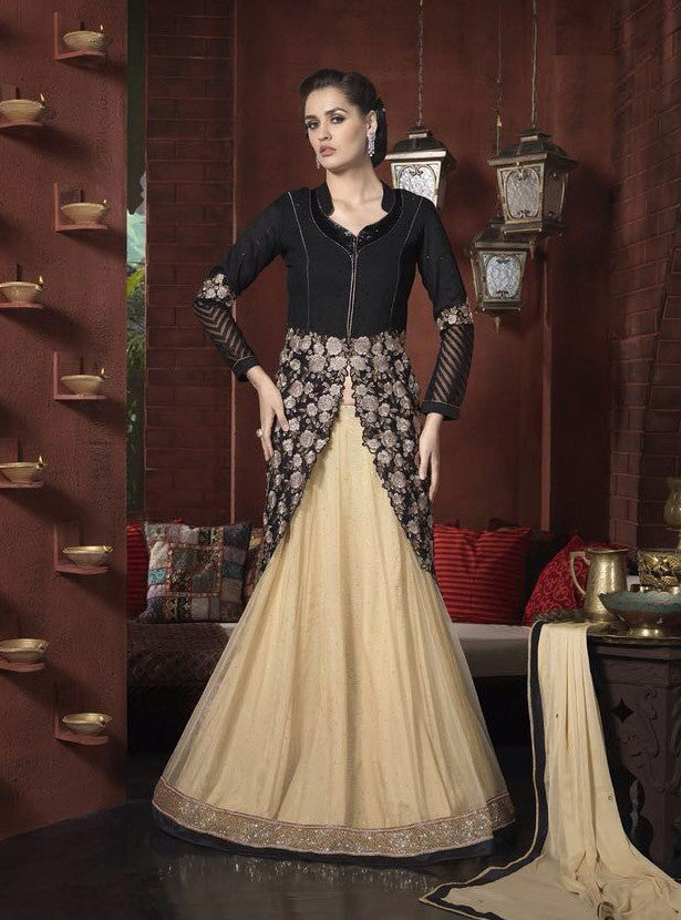 8afc007495 Buy Online Net Georgette Black & Beige Latest Salwar Kameez ...
