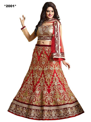 Designer Heavy Work Bridal Red and Beige Lehenga for women