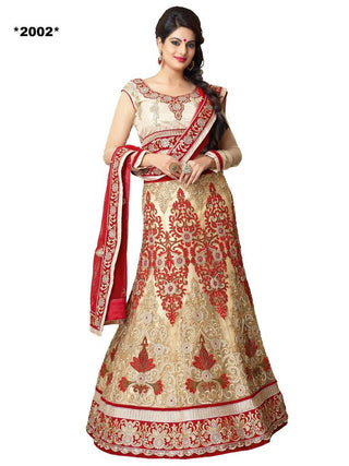 Designer beige and red bridal lehenga with heavy work