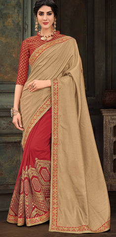 Beige And Red Poly Silk Party Wear Saree With Red Blouse