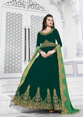 Bottle Green Georgette Party Wear  Suit With  Dupatta