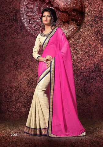 Saree of CHIFFON RICH COAT FOIL, Pallu of GEORJET JEQUARD BUTTI and Beige saree with pink pallu