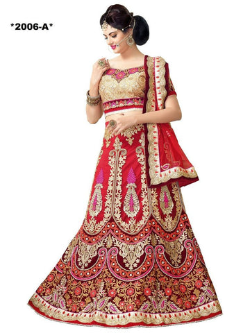 Designer Red and Beige lehenga with heavy work for brides