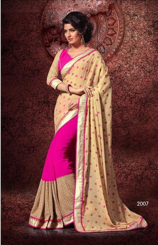Saree of CHIFFON, Pallu of GEORJET JEQUARD BUTTI and Pink saree with beige pallu