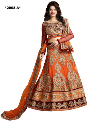 Designer Orange lehenga for wedding
