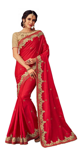 Red Poly Silk Party Wear Saree With Beige Blouse