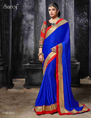 Designer Blue Satin Chiffon Saree with contrasting heavy border