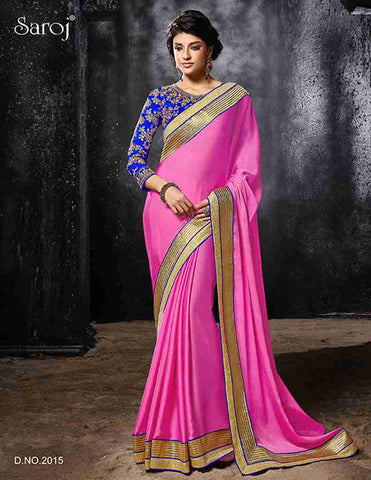 Designer Pink and blue saree with heavy border and blouse in embroidery for women