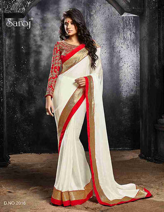 Designer white and red combination satin chiffon saree for parties and wedding