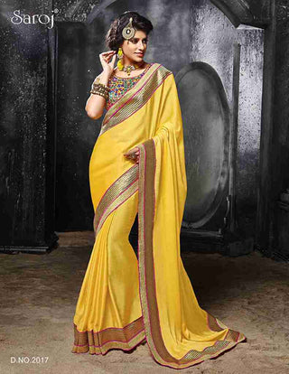 Designer Fancy Yellow Saree for wedding, festival and parties
