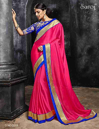 Pink and blue combination satin chiffon saree with heavy border with embroidery