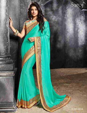 Turquoise/cyan designer saree for parties and wedding