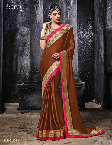 Designer brown saree with heavy border and blouse in embroidery for women