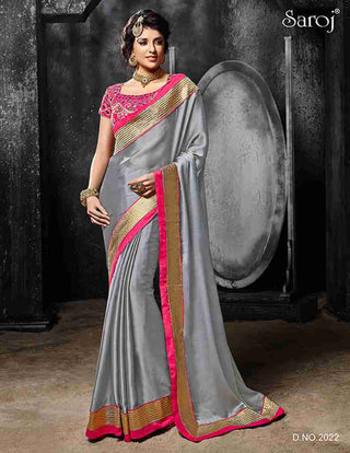 Designer Grey and pink saree for specal occsion for women