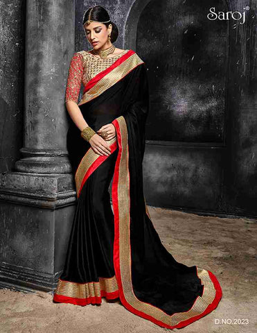 Designer black heavy border with heavy blouse in embroidery