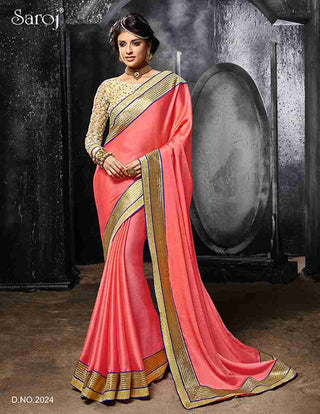 Designer Pink and golden saree for special occasions for women