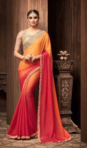 Orange Sunshine Chiffon Party Wear Saree  With Beige Blouse