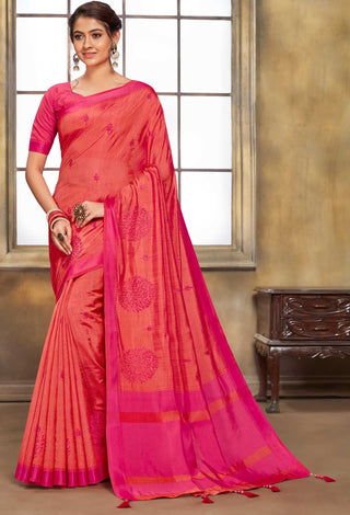 Red Jute Cotton Casual Wear Saree With Pink Blouse