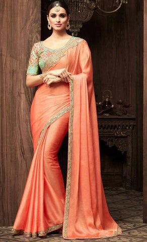 Orange Korian Silk Chiffon Party Wear Saree  With Green Blouse