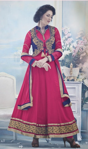 Designer pink and blue georgette and velvet anarkali suit with coati for women