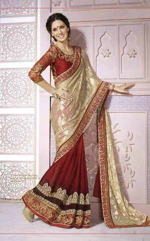 Maroon,Georgette,Brasso,,Designer saree with heavy work and designer blouse
