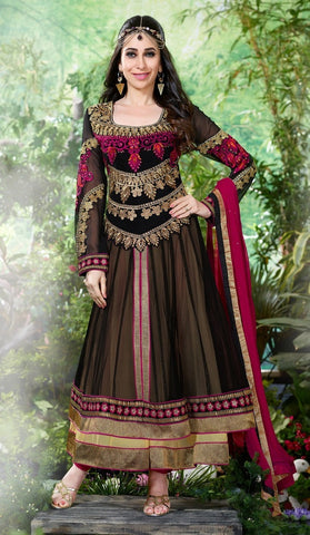 Heavy embroidered black anarkali long semi stitched with pink dupatta