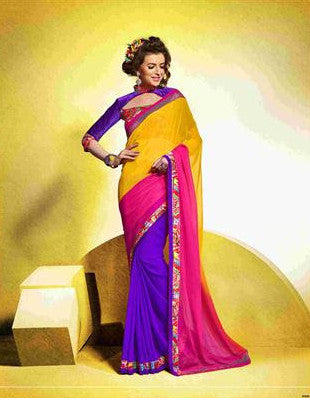 Designer Office Wear Multicolored Saree with shades of yellow, blue and pink