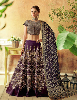 Purple  Taffeta Silk Party Wear Lehenga With Purple Dupatta