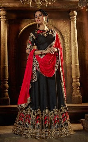 Black Silk Lehenga With Embroidery Alongwith Dupatta And Choli